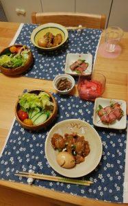 【夕飯】手羽元と卵のさっぱり煮&アスパラベーコン