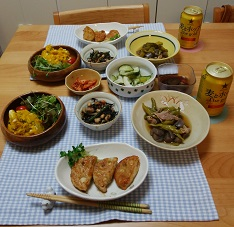 【夕飯】鶏ミンチのレンコンはさみ焼き&かぼちゃサラダ など