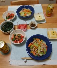 【夕飯】ゴーヤ入り野菜炒め &トマトとオクラのあえもの など