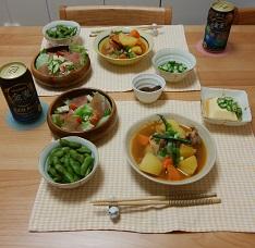 【夕飯】ピリ辛鶏じゃが&枝豆 など
