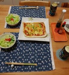 【夕飯】魚焼きグリルで焼くピザ