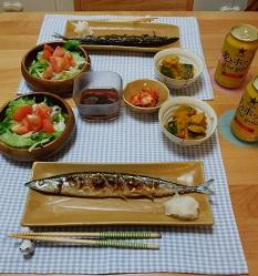 【夕飯】美味しいサンマの塩焼き