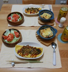 【夕飯】とん平焼き&厚揚げの辛子明太子ピザ など