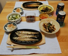 【夕飯】ニギスのムニエル&ひじきの煮物 &山芋サラダ