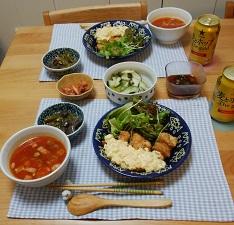 【夕飯】チキン南蛮 &オクラとトマトのスープ&あま唐辛子と豚肉とこんにゃくの煮物
