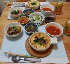 【夕飯】豆腐グラタン&冬瓜の煮物&トマトスープ &あま唐辛子とこんにゃくと豚肉の煮物