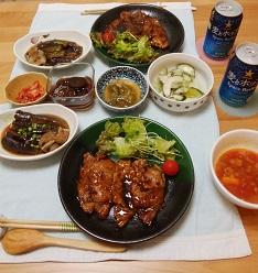 【夕飯】トンテキ &茄子と油揚げの煮物&トマトスープ